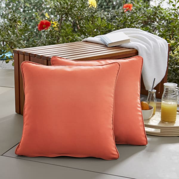 Sunbrella Corded in Canvas Melon Outdoor Pillows Set of 2