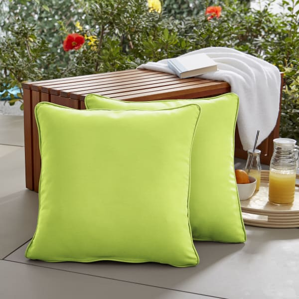 Sunbrella Corded Set of 2 in Canvas Macaw Outdoor Pillows