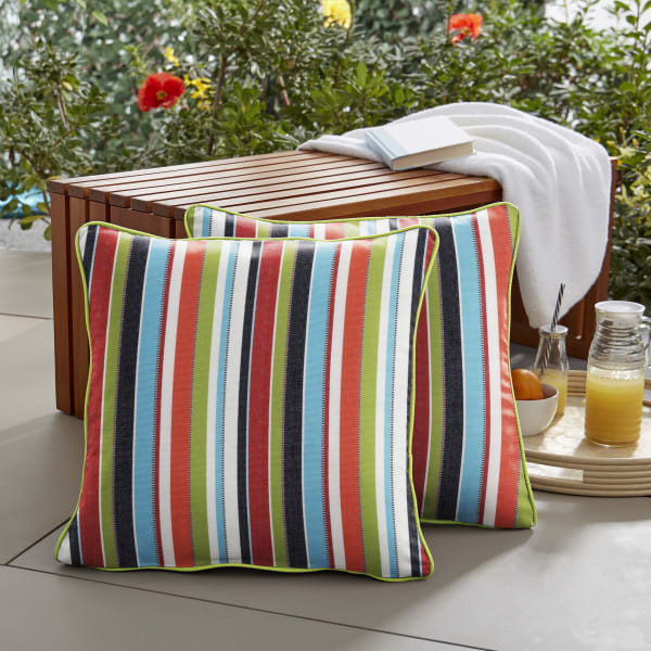 Sunbrella Corded in Carousel Confetti with Canvas Macaw Outdoor Pillows Set of 2