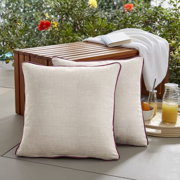 Sunbrella Corded in Cast Silver with Canvas Iris Outdoor Pillows Set of 2