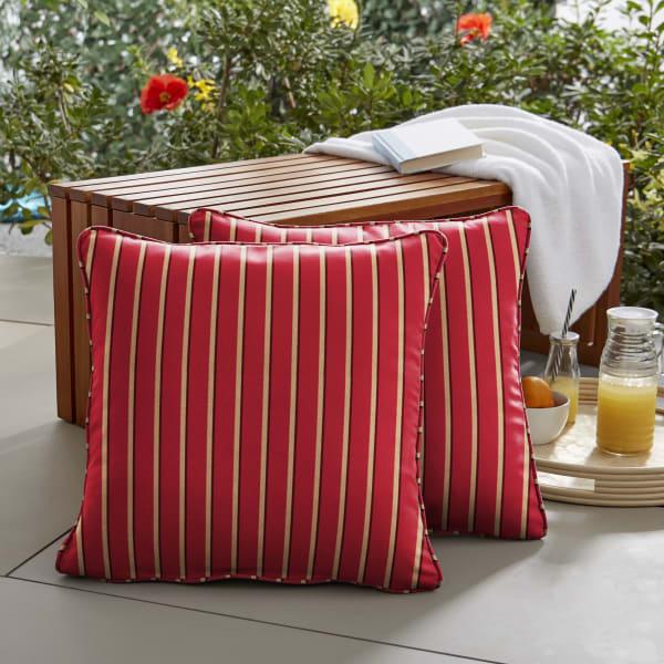Sunbrella Corded in Harwood Crimson Outdoor Pillows Set of 2