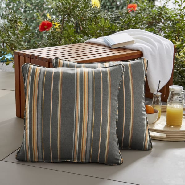 Sunbrella Corded in Stanton Greystone Outdoor Pillows Set of 2