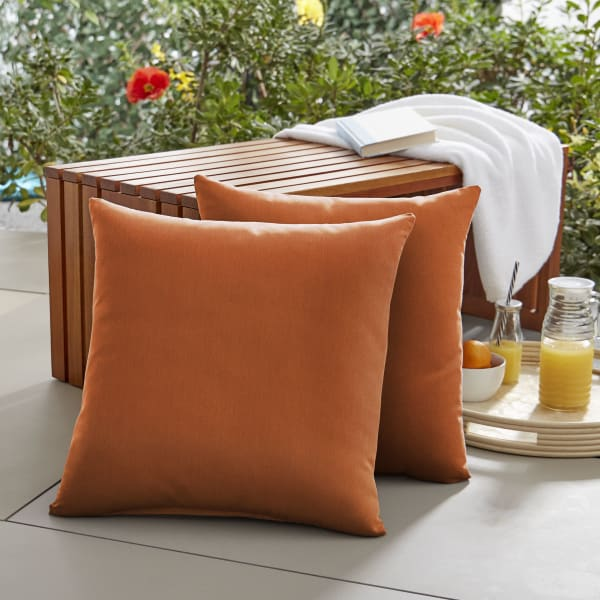 Sunbrella Knife Edge in Canvas Rust Outdoor Pillows Set of 2