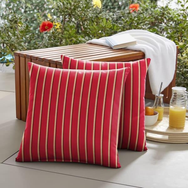 Sunbrella Knife Edge in Harwood Crimson Outdoor Pillows Set of 2