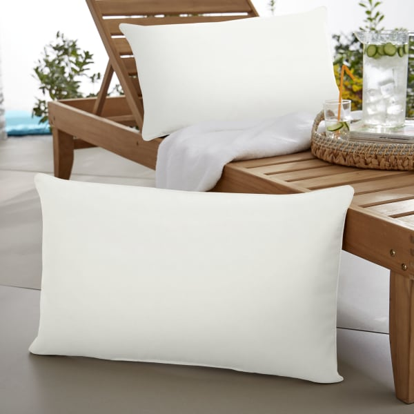 Sunbrella Oversized Corded in Canvas Natural Outdoor Pillows Set of 2