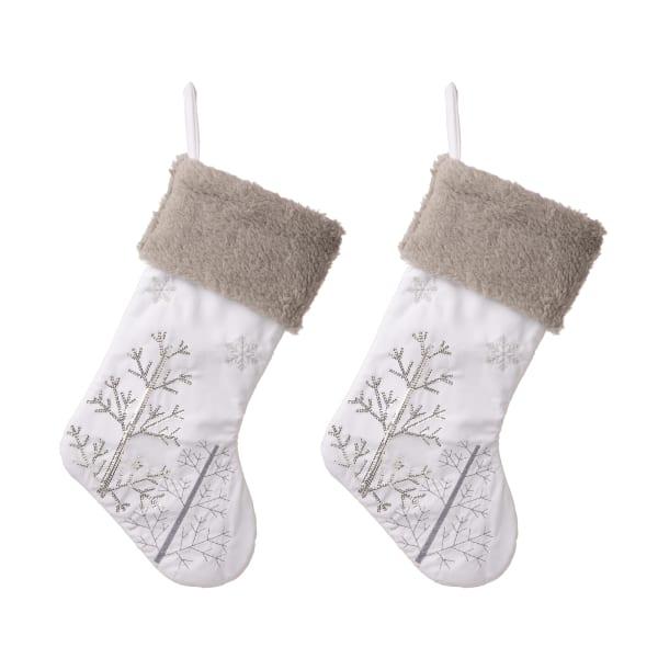 Set of 2 White Fleece with Christmas Tree and Snowflake Stocking