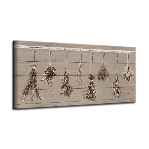 Dried Herbs Brown Canvas Kitchen Wall Art