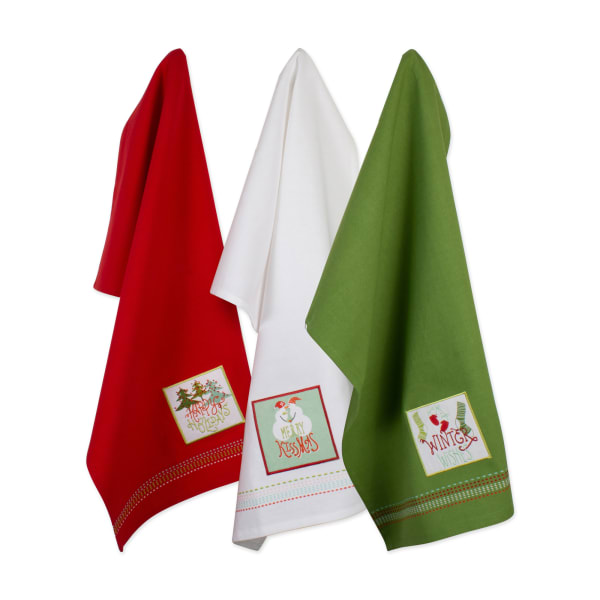 Assorted Cozy Christmas Embellished Dishtowel (Set of 3)