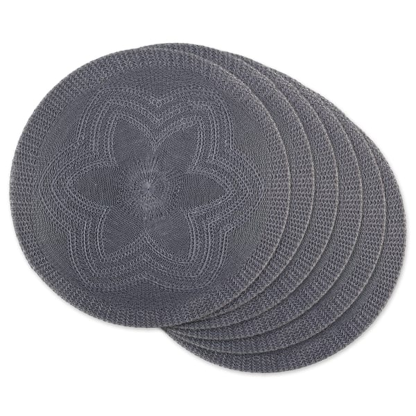 Gray Floral Woven Round Placemat Set/6