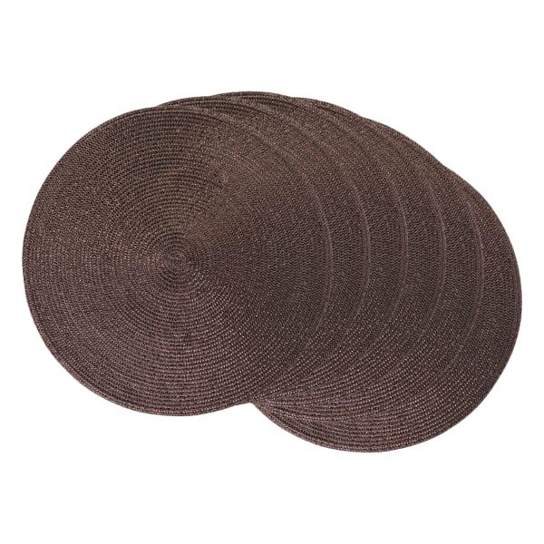 Metallic Wine Round Polypropylene Woven Placemat (Set of 6)