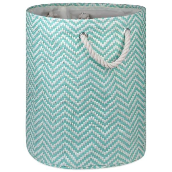 Paper Bin Chevron Aqua Round Large 20x15x15