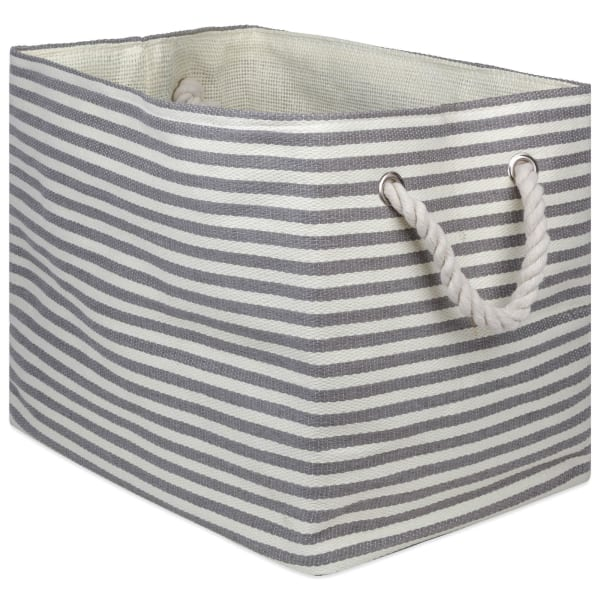 Paper Bin Pinstripe Gray Rectangle Large 17x12x12