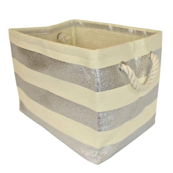 Paper Bin Stripe Silver Rectangle Medium 15x10x12