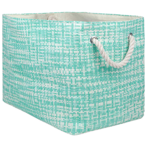 Paper Bin Tweed Aqua Rectangle Large 17x12x12