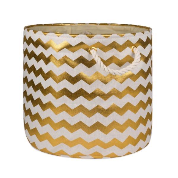 Polyester Bin Chevron Gold Round Large 15x16x16