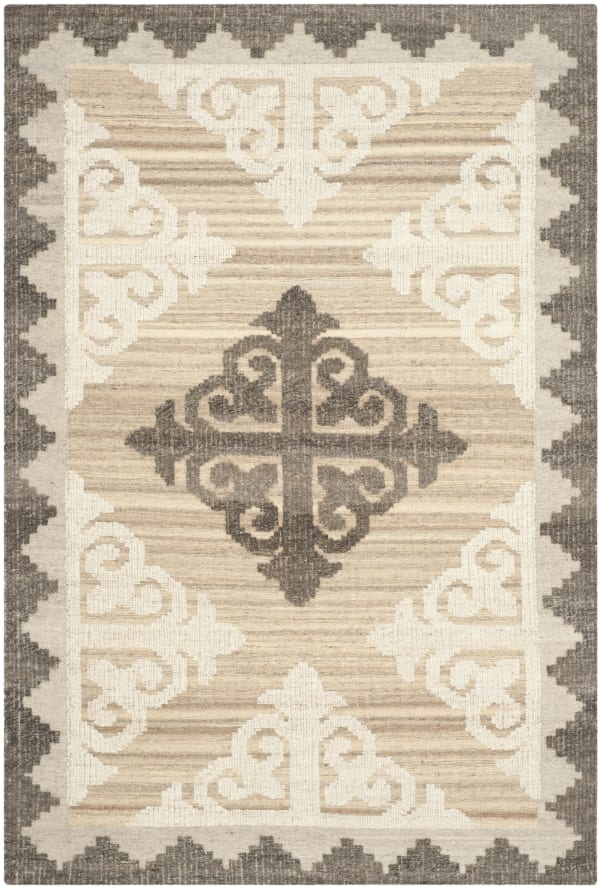 Brown Wool Rug 5' x 8'