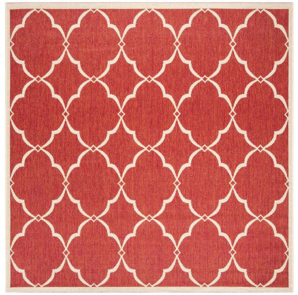 Square Red Polypropylene Rug  6' x 6'