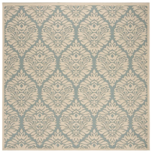 Square Blue Polypropylene Rug 6' x 6'