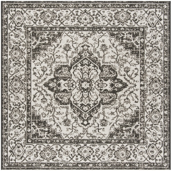 Square Gray Polypropylene Rug 6' x 6'