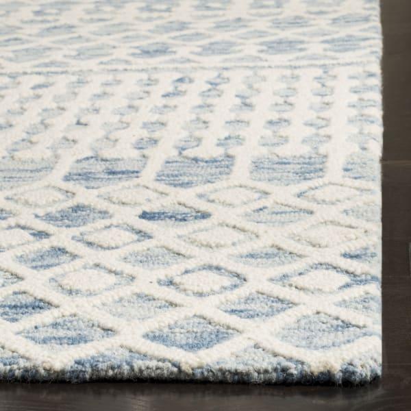 Square Blue Wool Rug 6' X 6'