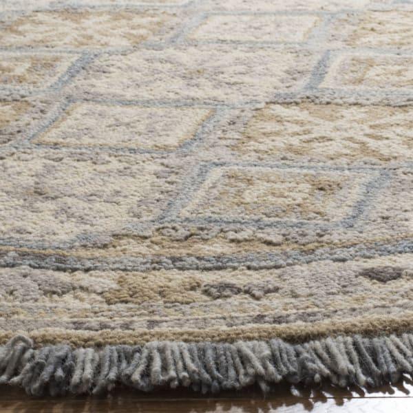 Round Tan Wool Rug 6'