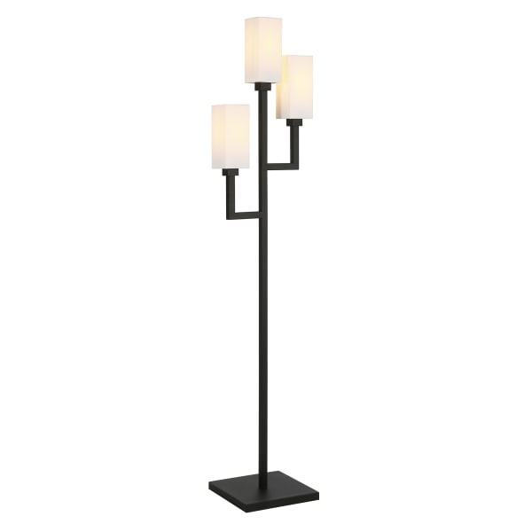 Bronze Floor Lamp with Double Torchiere and Fabric Shade