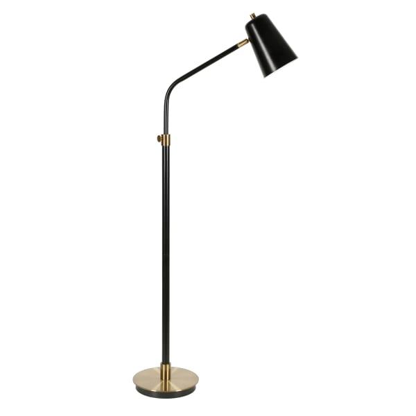 Floor Lamp in Black with Brass