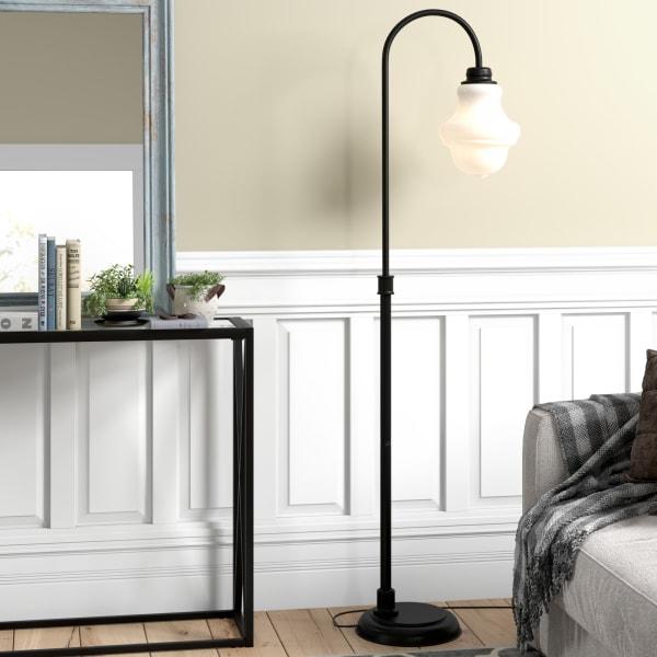 Sara Blackened Bronze Floor Lamp with White Milk Glass Shade