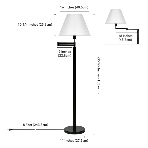 Moby Swing Arm Blackened Bronze Floor Lamp with Empire Shade