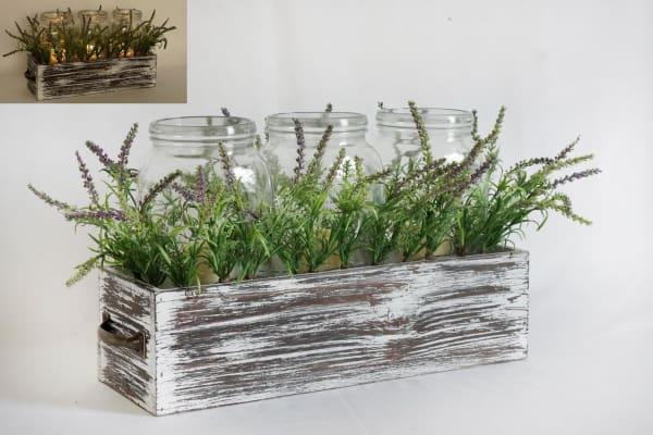 LED Wood Washed Box With Greenery