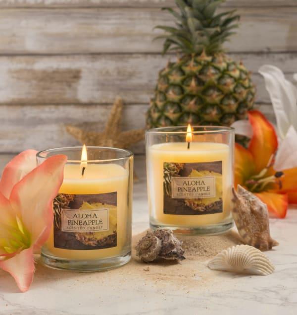 Set of 2 Aloha Pineapple Single Wick Candles