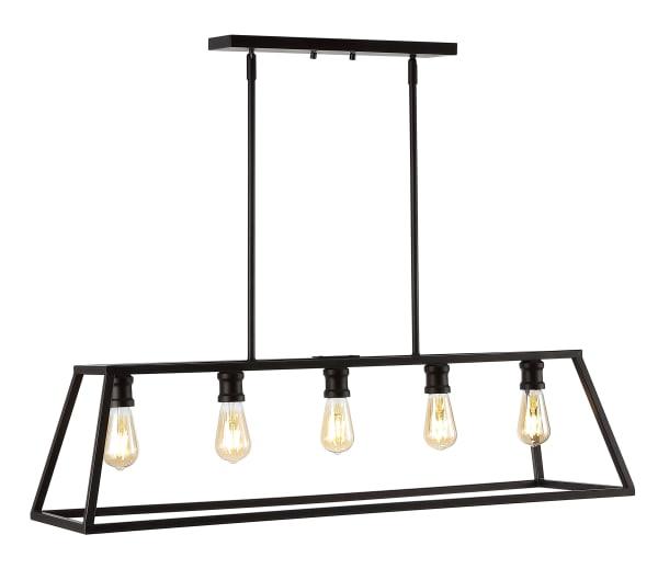 5-Light Adjustable Iron Farmhouse Vintage LED Dimmable Pendant, Oil Rubbed Bronze