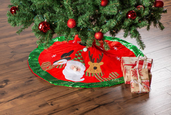 Santa And Snowman Holiday Tree Skirt