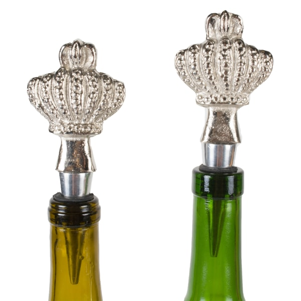 Silver Crown Bottle Stopper (Set of 2)