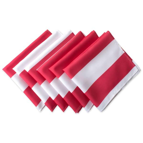 Coral Cabana Stripe Print Outdoor Napkin (Set of 6)