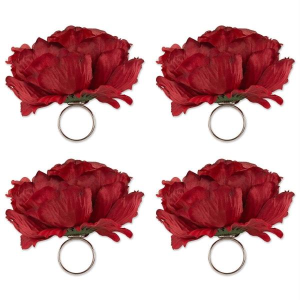 Peony Napkin Ring (Set of 4) Deep Red