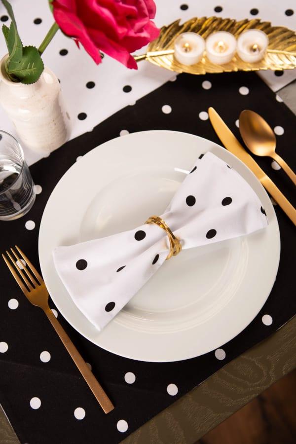 Polka Dot Napkin(Set of 4) White/Black