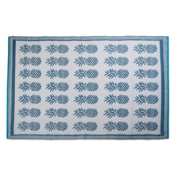 Blue Pineapple Outdoor Rug 4x6-ft