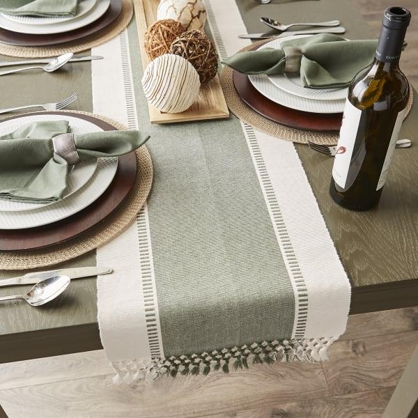 Artichoke Green Dobby Stripe Table Runner 13x72