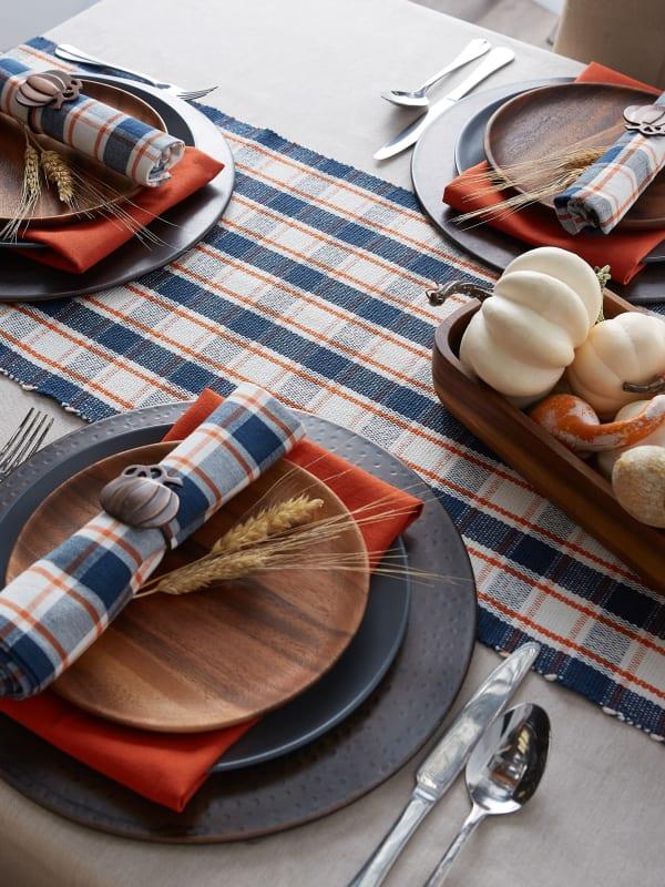 Autumn Farmhouse Plaid Table Runner 14x108