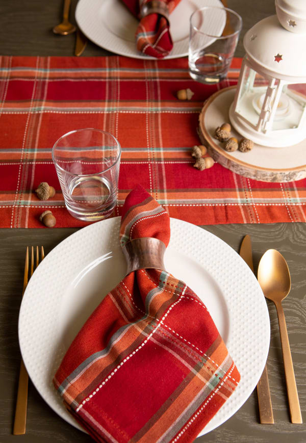 Autumn Spice Plaid Table Runner 14x108