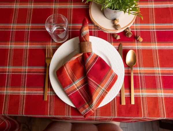 Autumn Spice Plaid Tablecloth 60x104