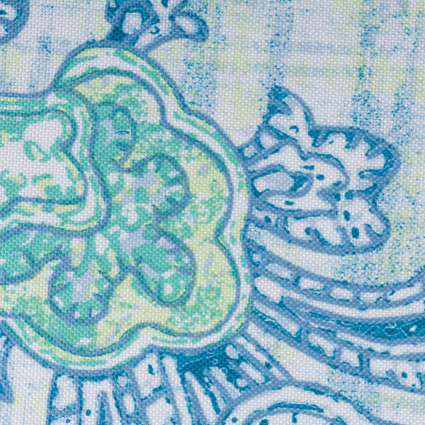 Blue Watercolor Paisley Print Outdoor Tablecloth With Zipper 60x120
