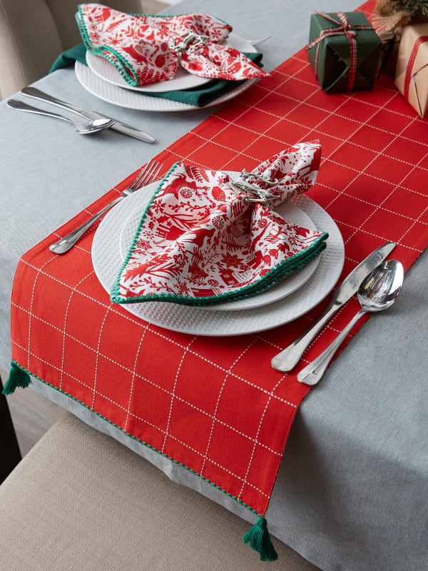 Christmas Woods Embellished Table Runner 14x108