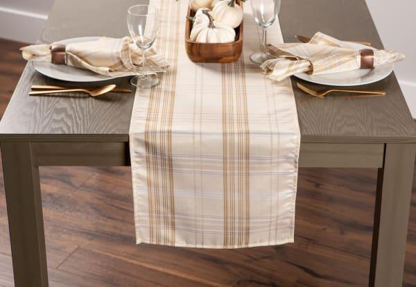 Cream Metallic Plaid Table Runner 14x108