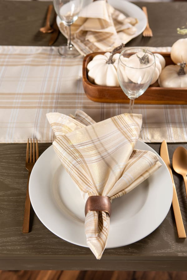 Cream Metallic Plaid Tablecloth 52x52