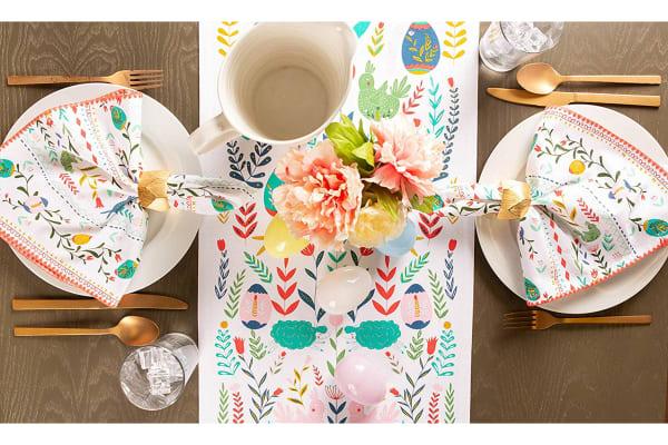 Easter Folk Garden Embellished Table Runner 14x72