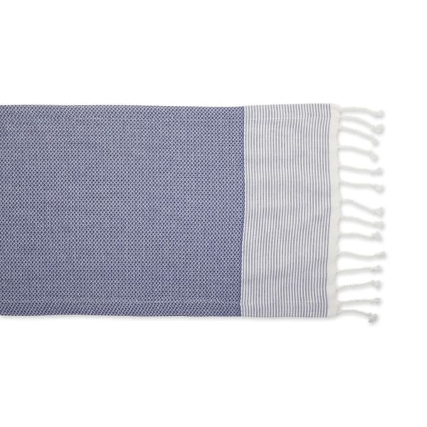 French Blue Bordered Dobby Table Runner 15x108