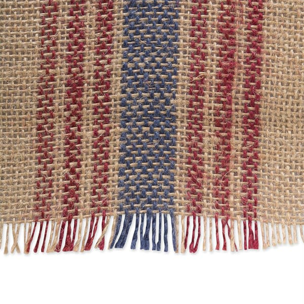 French Blue/Barn Red Middle Stripe Burlap Table Runner 14x108