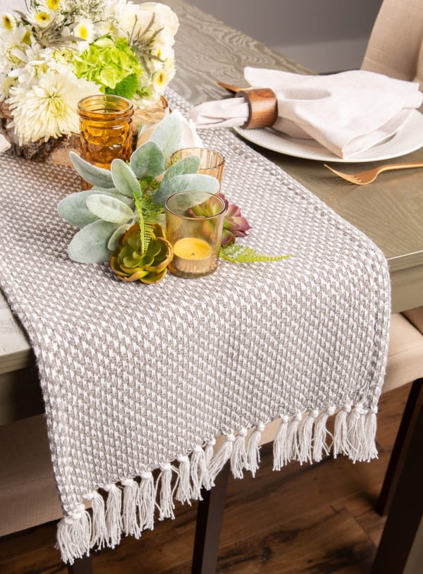 Gray Woven Table Runner 15x72